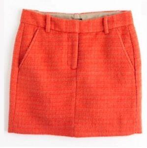 J crew orange tweed mini skirt size 4 wool/ mohair